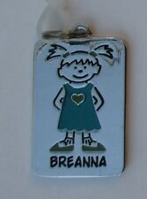 Breanna NAME TAG Dog tag CHARM PENDANT zipper pull shoe lace flair