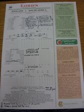 31/07/2003 Cricket Scorecard: England v South Africa [At Lords] (Written Results