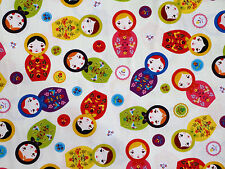 "LITTLE KUKLA MATRYOSHKA BABUSHKA NESTING DOLLS ROBERT KAUFMAN FABRIC  58""w  BTY"
