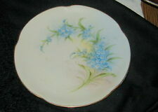 OLD STOUFFER HAND PAINTED BAVARIA PORCELAIN PLATE, FORGET ME NOTS, SIGNED MICHEL