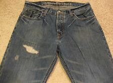 American Eagle Patchwork Paint Distressed Boot Cut Denim Blue Jeans mens 34 x 30