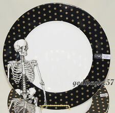 Ciroa Skeleton * 4 DINNER PLATES * Black & White, Gold Dots, Halloween, New/Tags