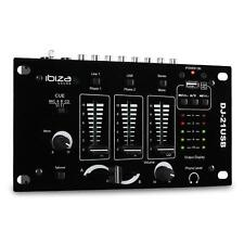 IBIZA SOUND DJ21 USB 3 CHANNEL COMPACT DJ PA MIXER MP3 TALKOVER CROSSFADE DECK