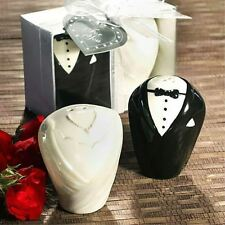 X5 sets Bride and Groom Ceramic Salt Pepper Shakers Set in Gift Box