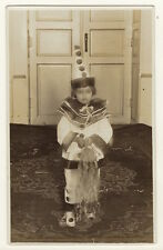 ADORABLE LITTLE GIRL WEARING PIERROT COSTUME: SHE IS CUTE AS A BUTTON  (RPPC)