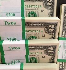 Lot of 25 - $2 Bills CURRENCY~TWO DOLLAR US NOTES CRISP MONEY UNCIRCULATED!