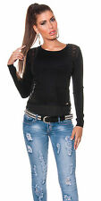 Sexy VoKuHiLa 2 in1 Pulli Pullover High Low Spitze Damen Shirt 34 36 38  Schwarz