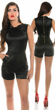 Black satin playsuit jumpsuit sizes 10 12 14  playsuit sexy glitter party Xmas