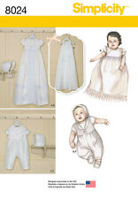 Simplicity Pattern 8024  BABIES' CHRISTENING SETS WITH BONNETS baby baptism