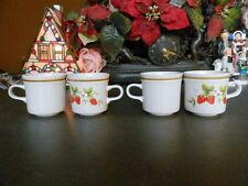 4 HALLKRAFTED STYLED BY MIKASA ARTISAN FRUIT HARVEST #KA107 MUGS / CUPS JAPAN