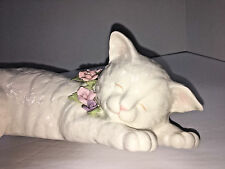 Vintage ANNA ROSE Coll. San Fran MUSIC BOX Porcelain SLEEPING CAT ON LEDGE