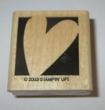 Heart Rubber Stamp Stampin' Up! Background Love Retired 2003 Wood Mounted