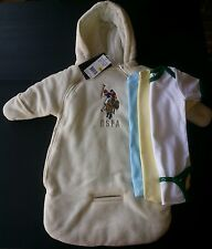 4pc US POLO ASSN SNOW SUIT COAT WINTER CREAM BABY 0-9 M NWT 3 Onesies boys girls