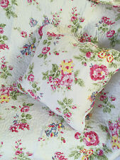Shabby Chic Gigi Vintage Floral Quilted Throw Rug & Cushion Cover French Country