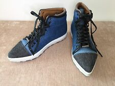 Jimmy Choo Denim Mix Leather Lagoon Lake Shoes Trainers Sneakers Sz 37 Uk 4 New