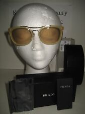NEW Prada Women SPR17Q Aviator Honey Yellow Designer Sunglasses Case 52/21/145