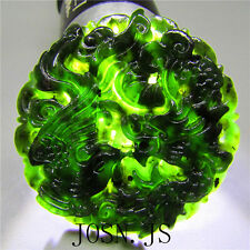 Natural chinese black green jade pendant necklace Dragon phoenix Jadeite AAAA