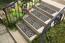 Set of 4 Heavy Duty Rubber Scrolled Butterfly Porch Patio Traction Stair Treads
