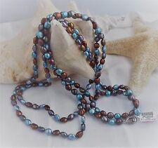 """LOVELY HONORA NEW BAROQUE PEARL NECKLACE IN  DENIM-  7MM 36"""" bright teal- ss"""