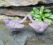 Pair Stone Wren Bird Ornaments Home Garden indoor outdoor Christmas Gift