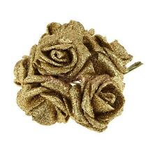 Pack of 12pcs Foam Roses Glitter Powder Flower Bouquet Wedding Decor-Gold