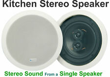 "White Ceiling Kitchen Stereo Speaker 6.5"" Easy Fit Loudspeaker 100W 952.537"