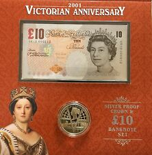 2001 Royal Mint Queen Victoria Era Silver Proof Crown £5 Coin & £10 Banknote Set