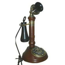 New Steepletone SNW05D Antique Style CandleStick Telephone Finished In Dark Wood
