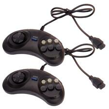 2 X New 6 Button Game Controller for Sega Genesis Controller Pad Black