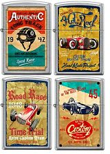 Zippo Old School 1940's Race Club 4 Lighter Set Vintage Poster Street Chrome NEW