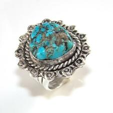 Sterling Silver Vintage Native American Large Blue Turquoise Band Ring Size 12.5