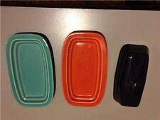 2 Fiestas Small Butter Trays (Orange and Bluish Green) 1 Butter Lid (Purple)Used