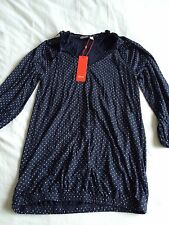 ESPRIT  Size X Small Navy Blue Spotty Boho Blouse Top Bnwt