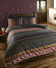 SINGLE BED REVERSIBLE ETHNIC INDIAN MULTI COLOURED PATTERNED DUVET COVER SET