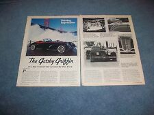 """1984 Gatsby Griffin Vintage Kit Car info Article """"Undisputed Leader of the Pack"""""""
