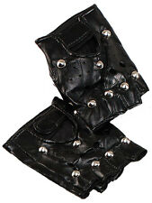 Unisex Nero Borchie Similpelle Guanti senza dita ANNI'80 FANCY DRESS PUNK GOTH