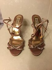 """BADGLEY MISCHKA"" WOMENS USED PINK TEXTILE HIGH WEDGES SIZE 9M SHOES"