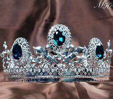 Blue Sapphire imperial Tiara Diadem Pageant Men Crown Renaissance Party Costumes