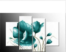 LARGE TEAL CANVAS PICTURES FLORAL FLOWER PAINTING WALL ART