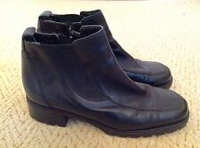 CLARKS Black Leather Chelsea Zip Up  Ankle Boots, Size 51/2 (39.5)