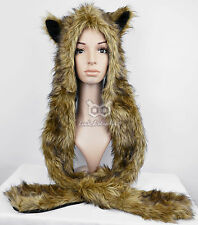 Faux Fur Animal Ears Hat Gloves Mittens Scarf Pocket Snood Hood Paws