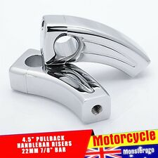 "CHROME BILLET PAIR RECTANGLE 5"" 4.5"" PULLBACK HANDLEBARS RISERS FOR 7/8"" Bar"
