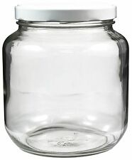 Clear Wide-mouth Glass Jar 64 oz White Metal Lid Half Gallon NEW Free Shipping