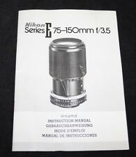 Nikon Series E 75-150mm f/3.5 Lens - User Manual