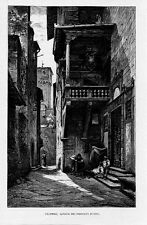 Stampa antica: FIRENZE Loggia Mercato Nuovo 1880 Old print Florence Engraving