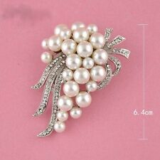 Silver Plated Rhinestone Pearl Large Bouquet Wedding Party Brooch Pin