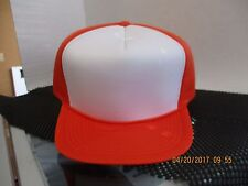 LOT OF 12 ORANGE caps/hats-5 PANEL-FULL PUFFY-WHITE FRONT-SNAPBACK-MOHR'S[A117