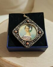 Handpainted Victorian Portrait Cameo Coral Sterling Silver openwork pendant VTG