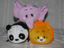 "BUN BUN Stacking Plush Pack Of 3 Mini PANDA LION ELEPHANT 4"" Zoo Animals"