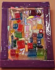 """PURPLE RIOTOF COLOR"" WALL ART SCULPTURE ""W/CLEAR DICHROIC  & COLORED ART GLASS"